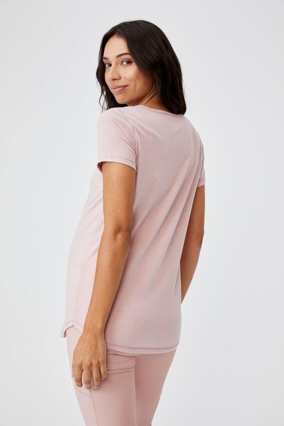 Maternity Gym T Shirt, ALMOND PINK