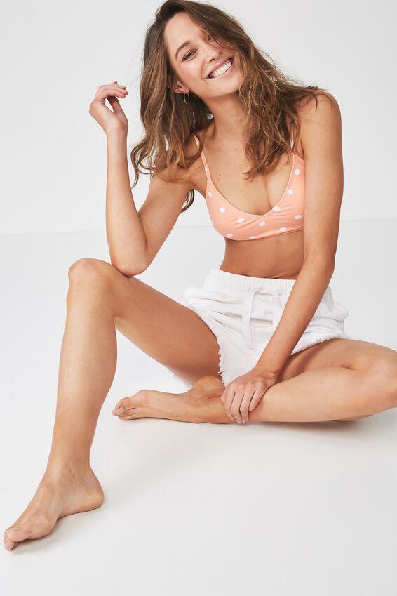 V Neck Bralette Bikini Top, CORAL SORBET COIN SPOT