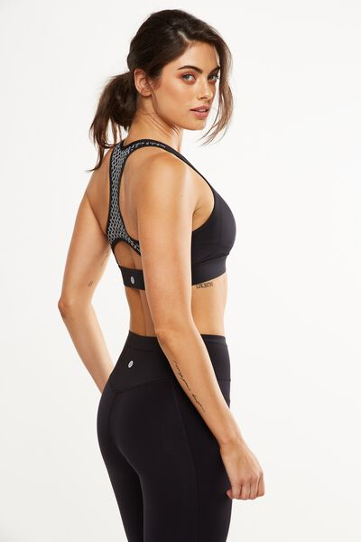 Luxe Reflective Sports Crop, BLACK/SILVER