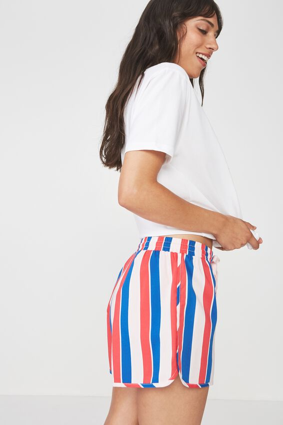 Boyfriend Woven Sleep Short, VERTICAL STRIPE/CANDY APPLE
