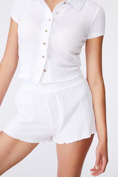 Knit Pointelle Bed Short, WHITE