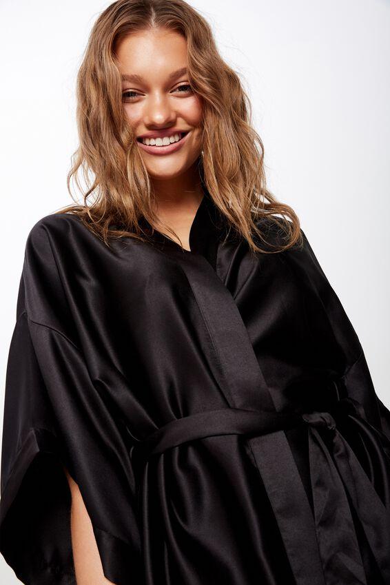 Satin Kimono Gown, BLACK
