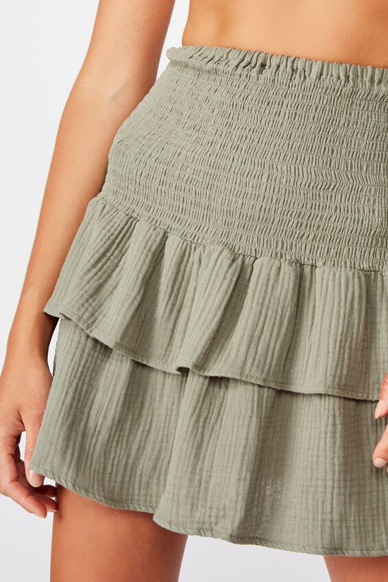 Shirred Tiered Beach Skirt, COOL AVOCADO