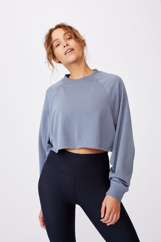 Lifestyle Crop Raglan Fleece, BLUE JAY
