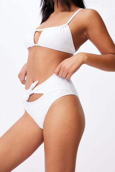 Highwaisted Cheeky Bikini Bottom Jacquard, WHITE JACQUARD/TIE