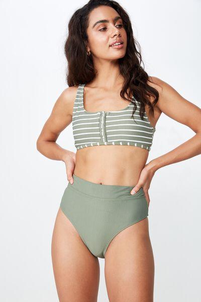 Highwaisted Banded Cheeky Bikini Bottom, COOL AVOCADO RIB