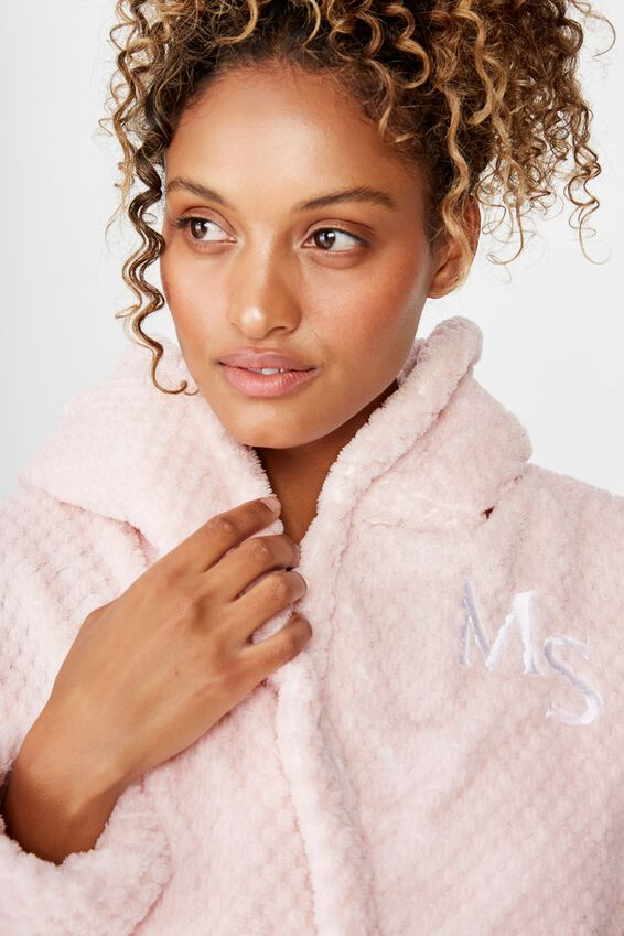 Personalised Hooded Luxe Plush Gown, CRYSTAL PINK MARLE TEXTURED