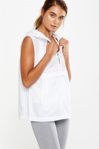 Laser Cut Sleeveless Top, WHITE