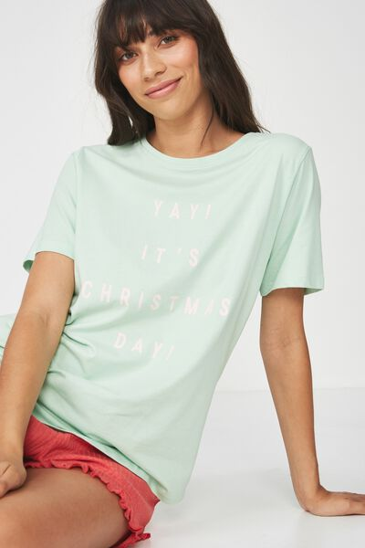 Jersey Scoop T Shirt, SIL GREEN/YAY ITS CHRISTMAS DAY