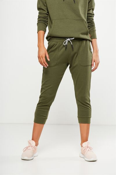 Cropped Gym Track Pants, OLIVE GREEN