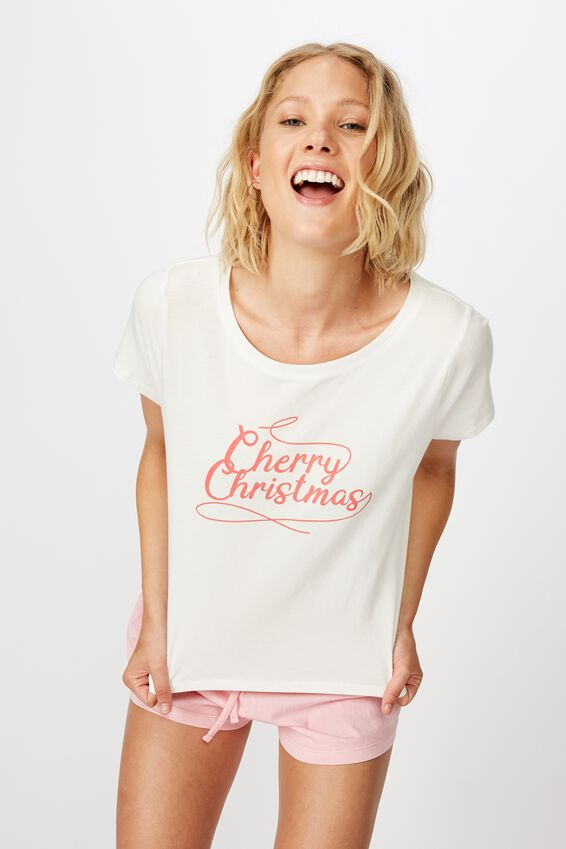 Jersey Bed T-Shirt, CHERRY CHRISTMAS/WHITE