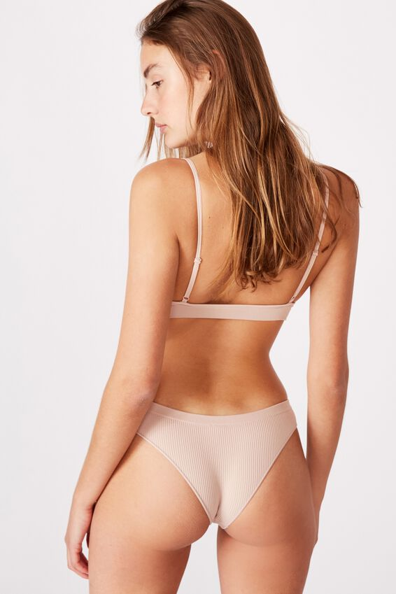 Seamfree Rib Brasiliano Brief, NEW LATTE