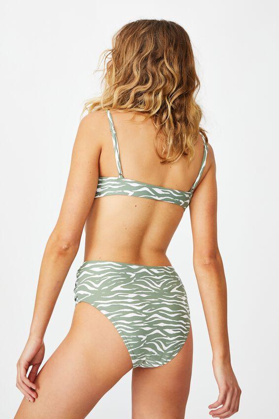 Highwaisted Cheeky Bikini Bottom, KHAKI ZEBRA TIE