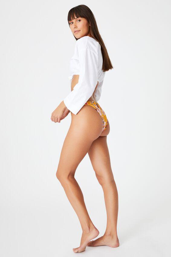 Tanga Cheeky Bikini Bottom, SPICY MUSTARD FLORAL SHIRRED