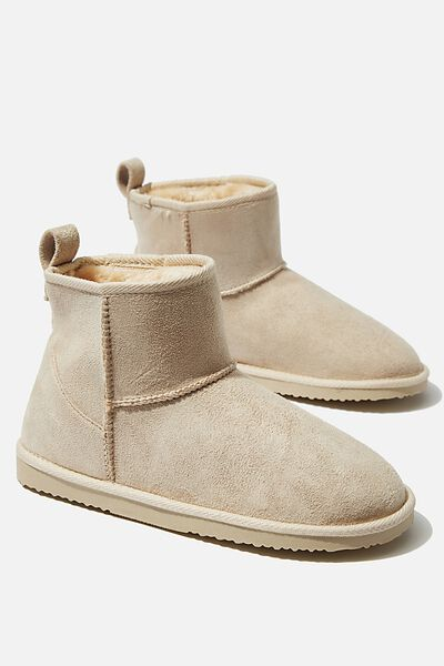 Cropped Home Boot, STONE