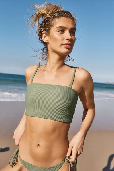 Longline Bandeau Bikini Top, COOL AVOCADO RIB