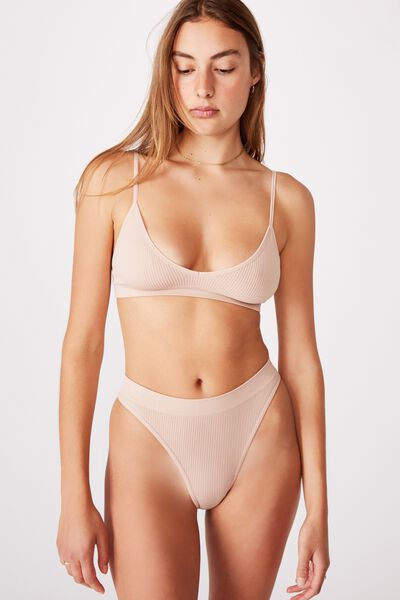 Seamless High Cut Brasiliano Brief, NEW LATTE