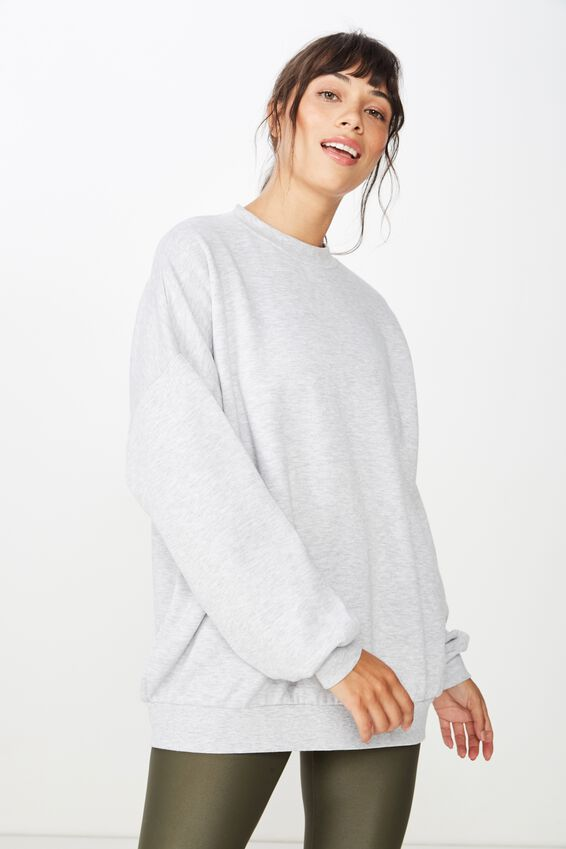 Slouchy Active Crew Top, CLOUDY GREY MARLE