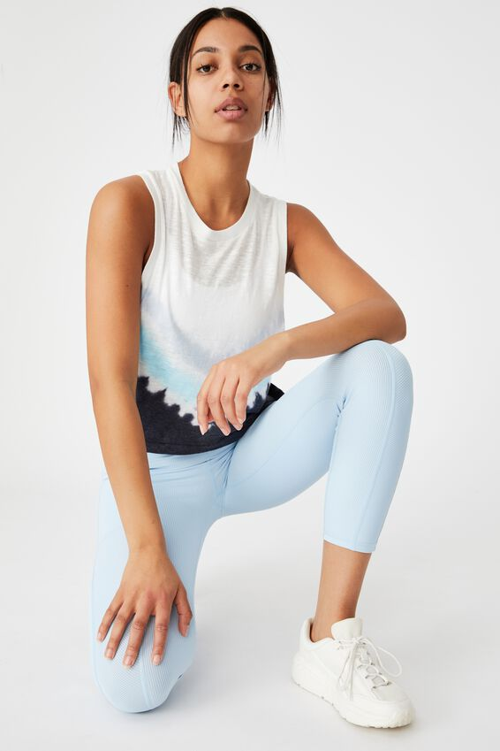 All Things Fabulous Cropped Muscle Tank, BABY BLUE DIP DYE