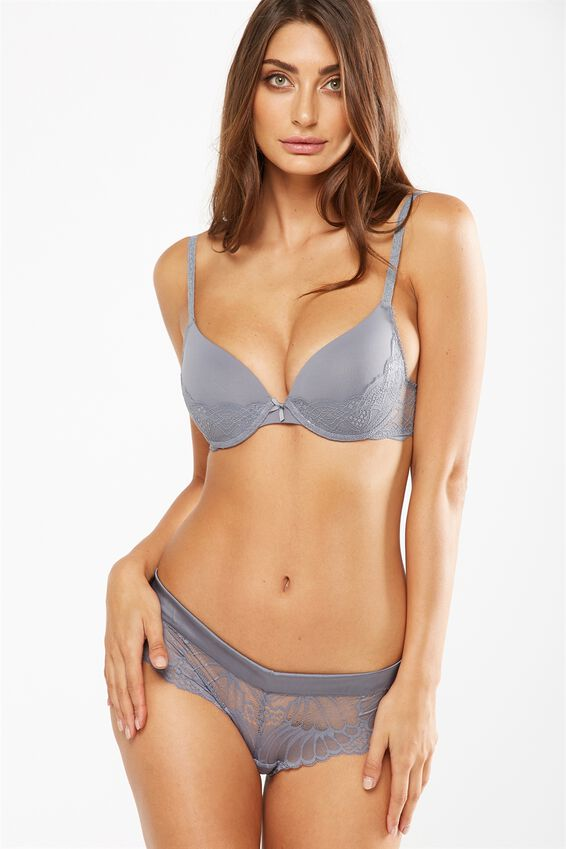 Cindy Lace Push Up Bra, CONCRETE
