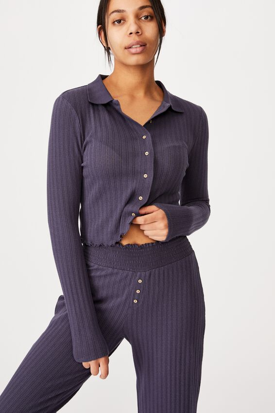 Knit Pointelle Polo Long Sleeve, PHANTOM
