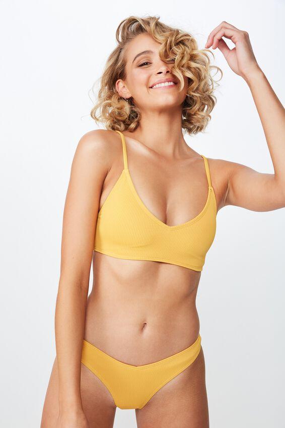 Lucie Rib V Neck Bralette Bikini Top, MARIGOLD