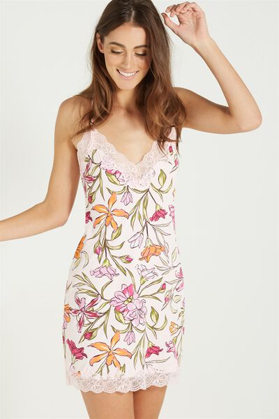 Lace Back Slinky Nightie, TROPICAL BOUQUET PETAL PINK