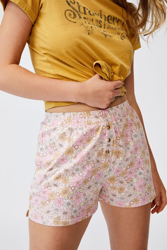 Jersey Button Boxer Short, SOFTLY RETRO PRETTY PINK