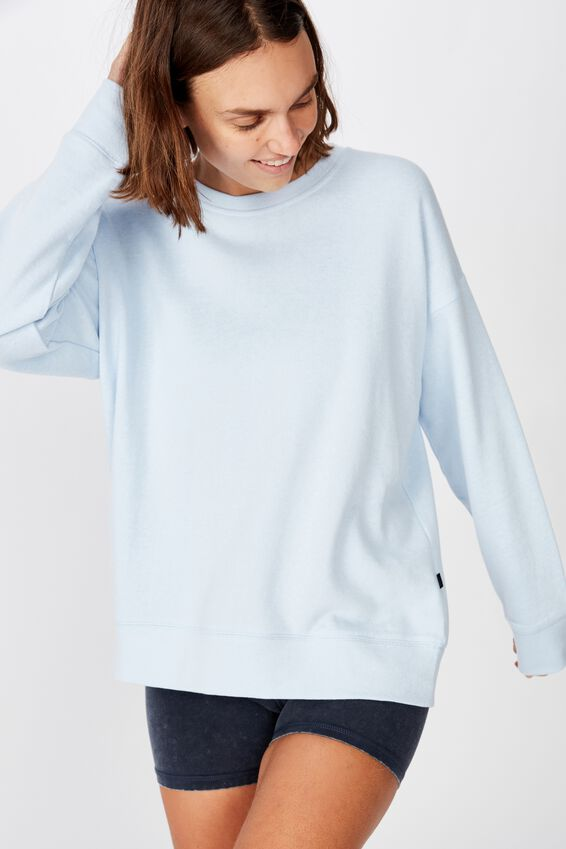 Long Sleeve Fleece Crew Top, WINTER SKYE BLUE MARLE