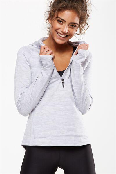Warm & Fuzzy Half Zip Long Sleeve Top, GREY MARLE