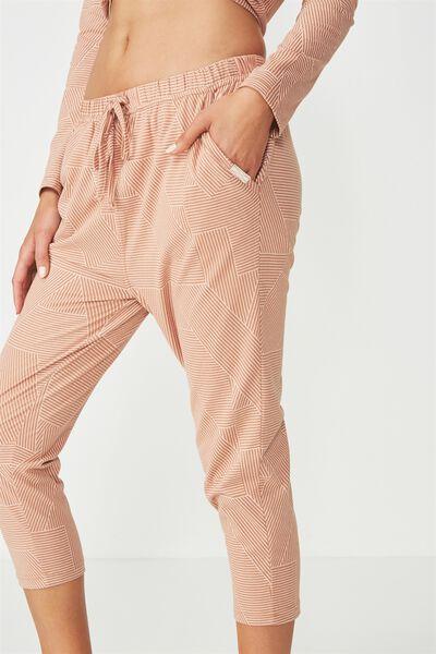 Jersey Cropped Harem Pant, SPLICEY STRIPE MAPLE