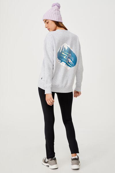 Lifestyle Long Sleeve Graphic Crew Top, GREY MARLE/SKI CLUB