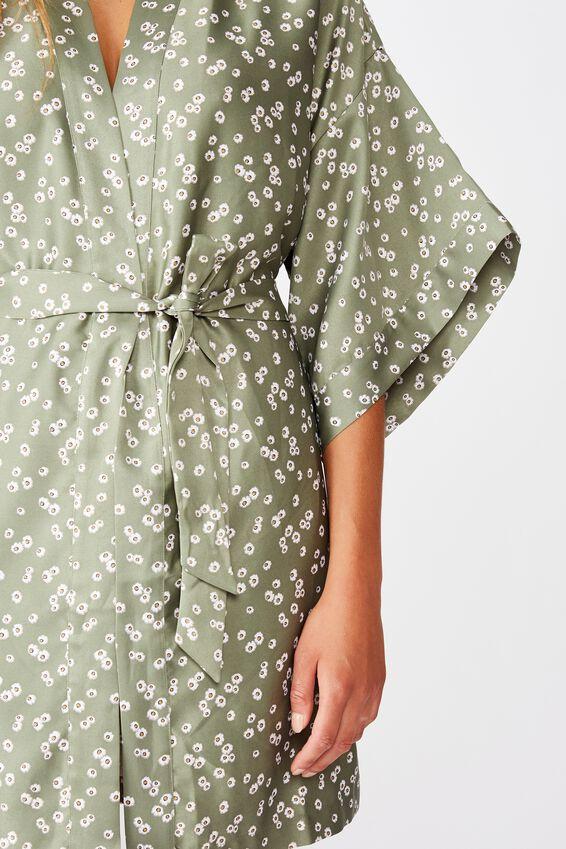 Satin Kimono Gown, DITZY DAISY COOL AVOCADO