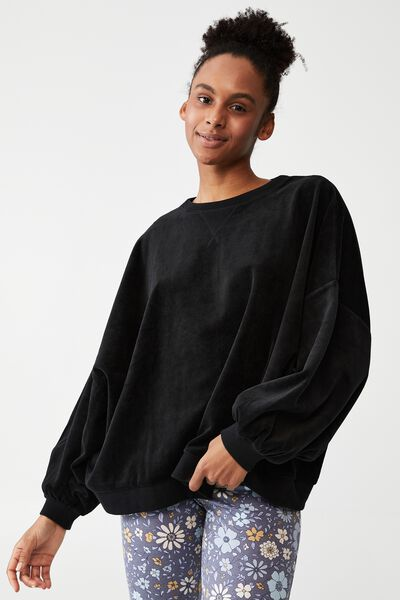 Luxe Bed Velour Pullover, BLACK