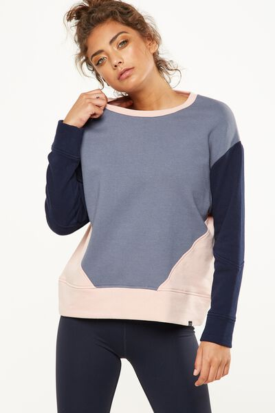Panelled Long Sleeve Top, TITANIUM/INDIGO/MISTY PINK