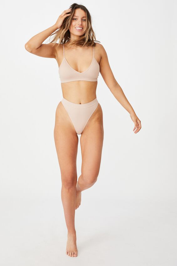 Seamfree Triangle Bralette With Cups, NEW LATTE