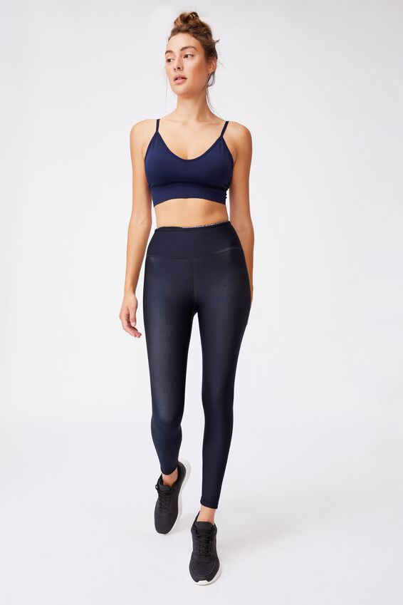 Lifestyle Seamless V-Neck Crop, NAVY