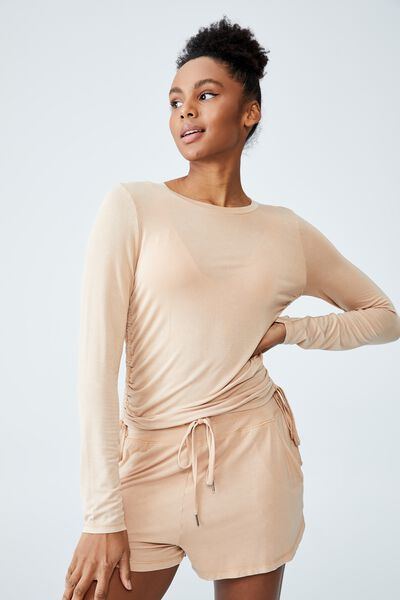Sleep Recovery Side Tie Long Sleeve Top, BUTTERSCOTCH WASH