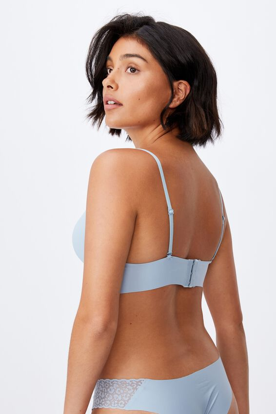 Invisible V Bralette With Cups, BLUE FOG