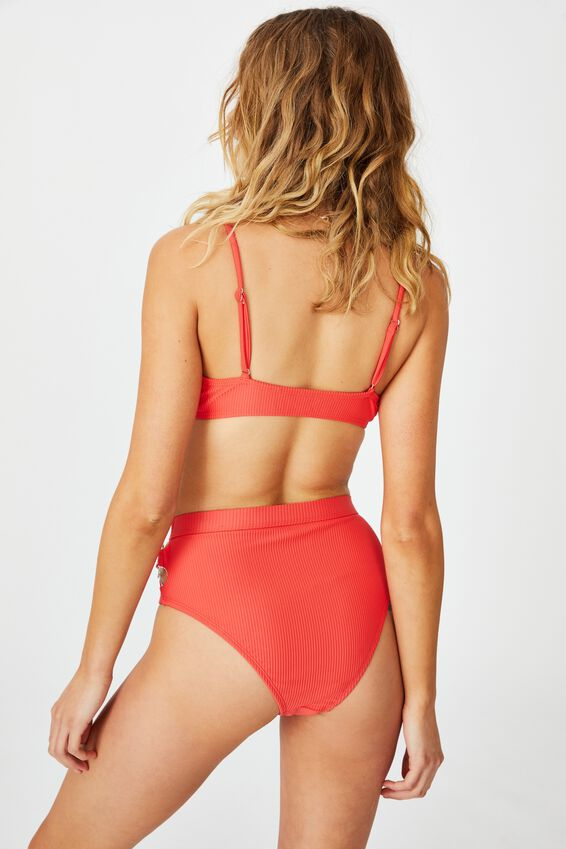 Highwaisted Banded Cheeky Bikini Bottom, SPICY RED RIB/RINGS