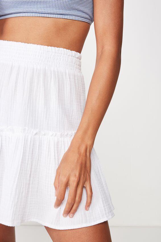 Ruffle Tiered Beach Skirt, WHITE