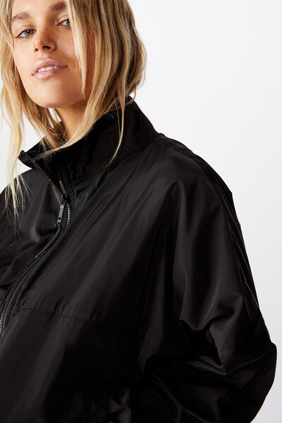 Cropped Summer Anorak, BLACK