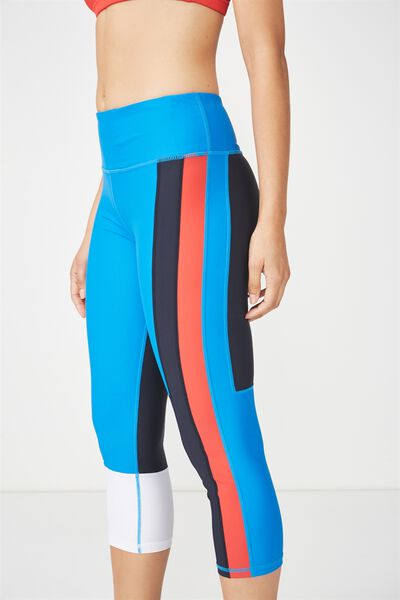 Colour Blocked Crop Tight, ELECTRIC BLUE/NAVY