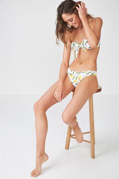 Nixie Tie Bandeau Bikini Top, LEMON VINE