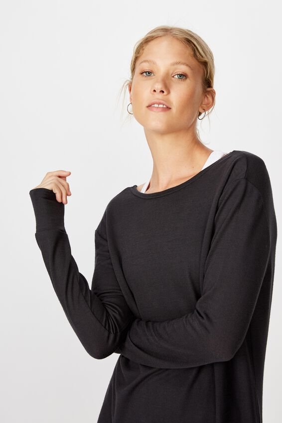 Back Twist Long Sleeve Top, NAVY