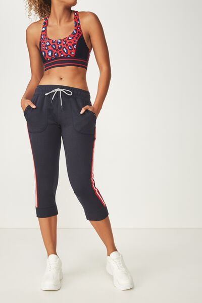 Cropped Gym Track Pants, NAVY/PINK SHERBET/MOLTEN LAVA