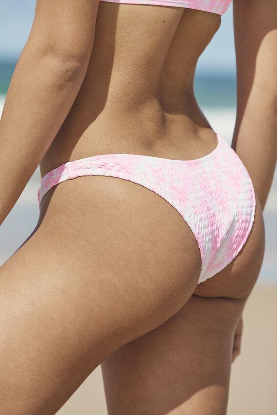 Refined High Side Brazilian Bikini Bottom, STRAWBERRY TIE DYE SHIRRED