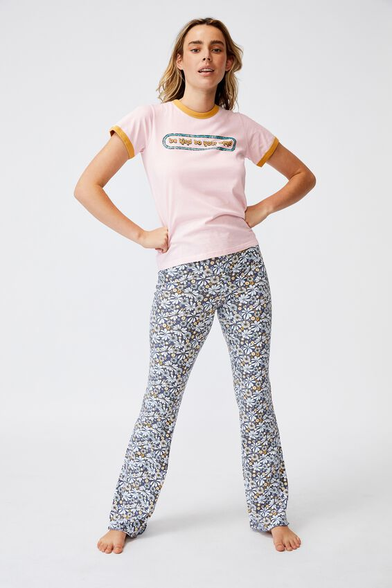 Ringer Sleep T-Shirt, BE KIND PRETTY PINK