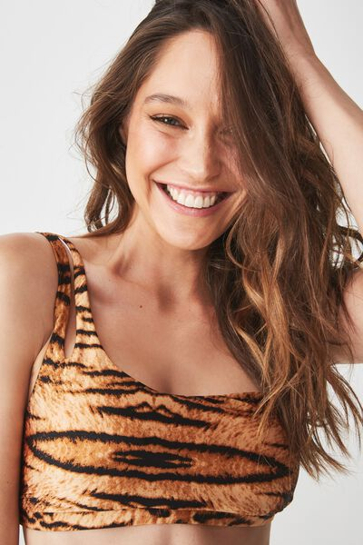 Elle One Shoulder Bikini Top, TIGER