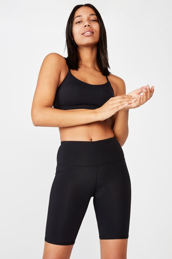 Highwaisted Mid Length Bike Short, BLACK